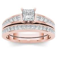 De Couer 14K Rose Gold 1 1/2ct TDW Princess-Cut Diamond Engagement Ring Set - Pink
