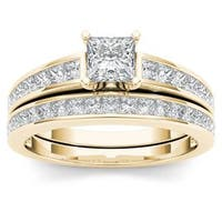 De Couer 14K Yellow Gold 1 1/2ct TDW Princess-Cut Diamond Engagement Ring Set
