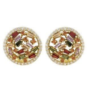 Luxiro Gold Finish Sterling Silver Baguette Cubic Zirconia Circle Clip-on Earrings
