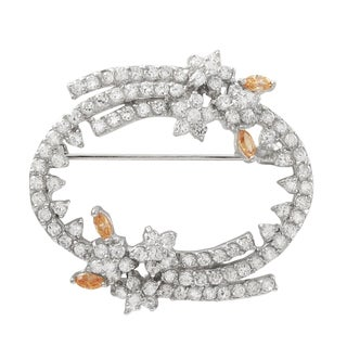 Luxiro Sterling Silver Champagne Cubic Zirconia Floral Wreath Brooch Pin