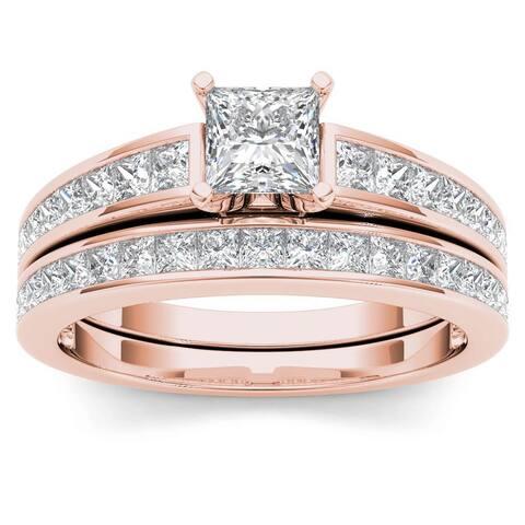 De Couer 14K Rose Gold 2ct TDW Princess-Cut Diamond Engagement Ring Set - Pink