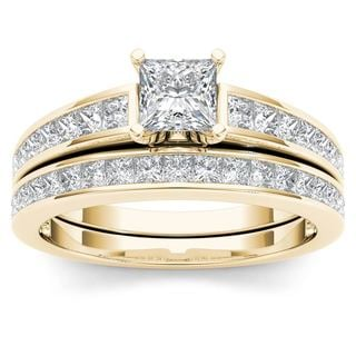 De Couer 14K Yellow Gold 2ct TDW Princess-Cut Diamond Engagement Ring Set