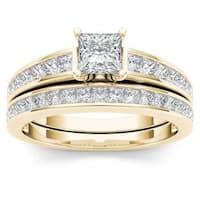 De Couer 14K Yellow Gold 2ct TDW Princess-Cut Diamond Engagement Ring Set