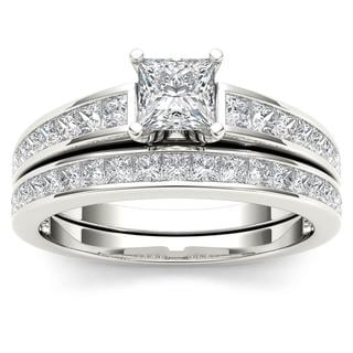 De Couer 14K White Gold 2ct TDW Princess-Cut Diamond Engagement Ring Set - White H-I
