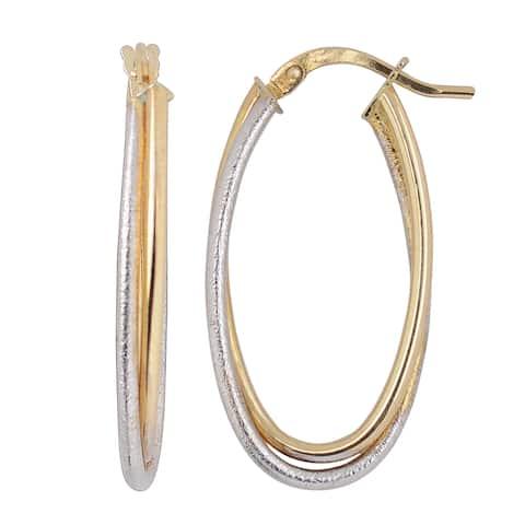 Fremada Italian 14k Two-tone Gold Double Oval Hoop Earrings
