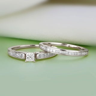De Couer 14K White Gold 1ct TDW Princess-Cut Diamond Engagement Ring Set