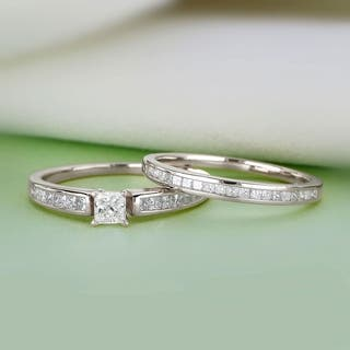 De Couer 14K White Gold 1ct TDW Princess-Cut Diamond Engagement Ring Set|https://ak1.ostkcdn.com/images/products/12855931/P19618606.jpg?impolicy=medium