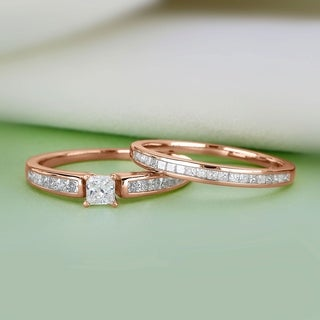 De Couer 14K Rose Gold 1ct TDW Princess-Cut Diamond Engagement Ring Set - Pink