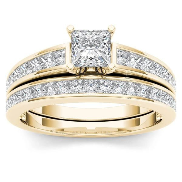 De Couer 14k Yellow Gold 1ct Tdw Princess Cut Diamond Engagement Ring Set