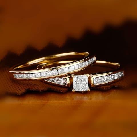 De Couer IGI Certified 14K Yellow Gold 1ct TDW Princess-Cut Diamond Engagement Ring Set