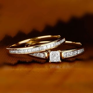 De Couer 14K Yellow Gold 1ct TDW PrincessCut Diamond Engagement