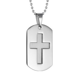 Men's Stainless Steel Cross Dog Tag Pendant Necklace