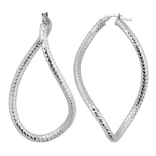 Fremada Italian 14k White Gold Bold Hoop Earrings, 2""