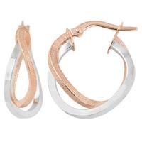 Fremada Italian 14k Two-tone Gold Double Hoop Earrings