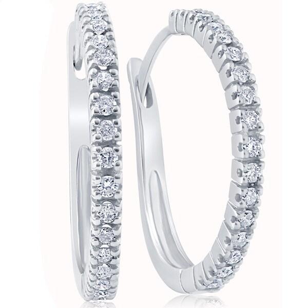 10k White Gold 1/2 ct TDW Diamond Hoops