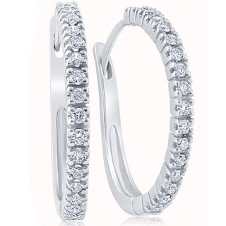 10k White Gold 1/2 ct TDW Diamond Hoops