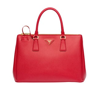 Prada Galleria Red Saffiano Leather Satchel Handbag