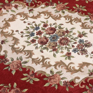Alfie Morden Red/Beige/Brown Polyester and Cotton Cross-woven Oriental Area Rug (5' x 7')