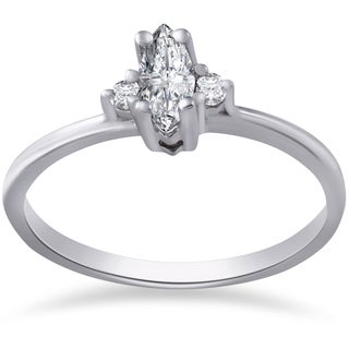 10k White Gold 1/3 ct TDW Marquise Diamond Engagement Ring