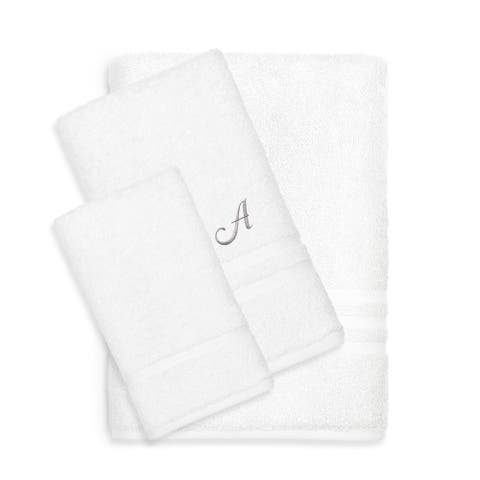 Authentic Hotel and Spa Omni Turkish Cotton Terry 3-piece White Bath Towel Set with Grey Script Monogrammed Initial