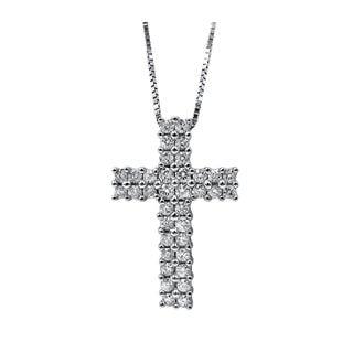 Noori 14k Gold 1/2ct TDW Diamond Petite Cross Necklace Pendant (I1-I2)