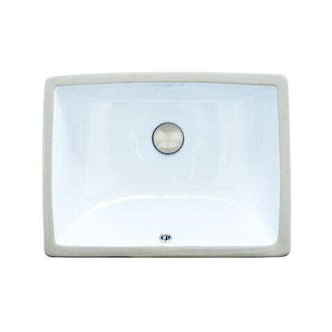 Vitreous China Clay 19-inch x 15-inch Rectangular Bathroom Sink