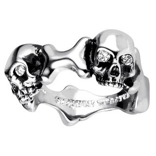 Stephen Webster Men's Skull and Bones Sterling Silver Diamond Ring