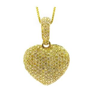 Noori 14k Gold 7/8ct TDW Canary Yellow Diamond Puffed Heart Necklace
