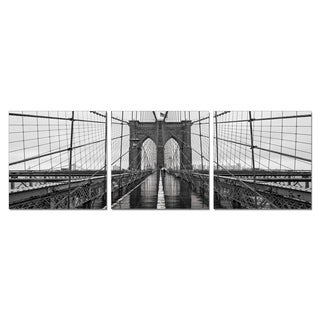 Furinno SeniA 'Brooklyn Bridge Chrome' Wall-mounted Triptych Photography Prints (Set of 3)