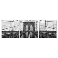 Furinno SeniA 'Brooklyn Bridge Chrome' Wall-mounted Triptych Photography Prints (Set of 3) - Black/White - 48 x 16