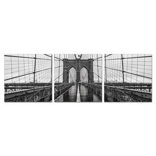 Furinno SeniA 'Brooklyn Bridge Chrome' Wall-mounted Triptych Photography Prints (Set of 3) - Black/White - 48 x 16