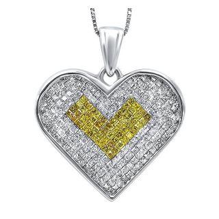 Noori 14k White Gold 1 2/5ct TDW Princess-cut Canary Diamond Heart Necklace (I2-I3)