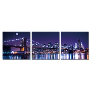 Furinno SeniA 'NYC The City Never Sleeps' 3-panel Wall-mounted Triptych Photography Prints