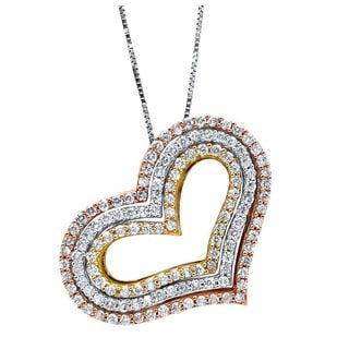 Noori 14k Tri-color Gold 1 1/3ct TDW Diamond Heart Necklace (H-I, I1-I2)