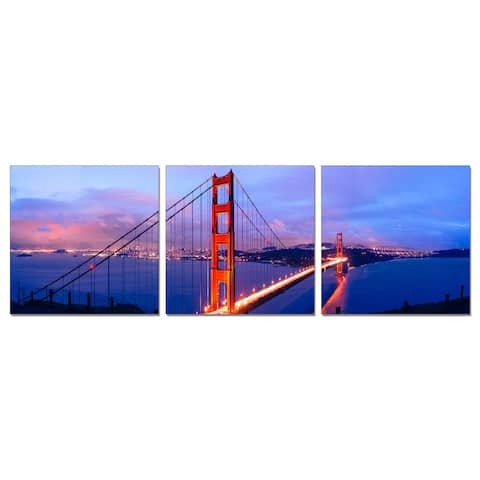 Furinno Senik 'Golden Gate Bridge' 3-piece Wall-mounted Triptych Photography Prints
