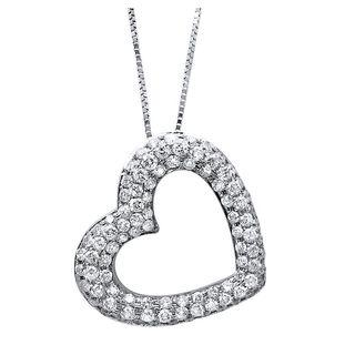 Noori 14k Gold 1ct TDW Diamond Puffed Heart Necklace (H-I, SI2-I1)