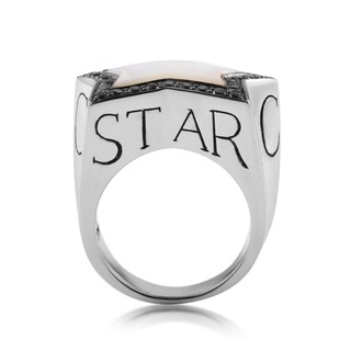 Stephen Webster Rockstar Silver Mother of Pearl and Black Sapphire Men's Ring