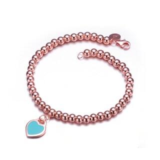 Collette Z Rose Gold Overlay blue Heart Bracelet