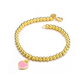 Collette Z Gold Overlay Pink Heart Bracelet