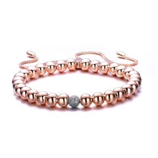 Collette Z Rose Gold Overlay Cubic Zirconia Ball Bracelet