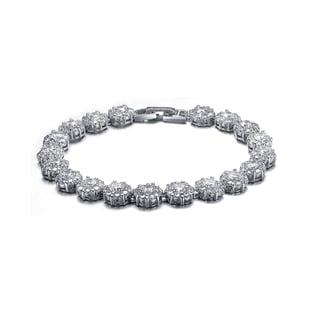 Collette Z Sterling Silver Cubic Zirconia Solitaire Wreath Bracelet