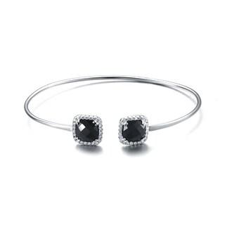 Collette Z Sterling Silver Black Cubic Zirconia Two Stone Bracelet