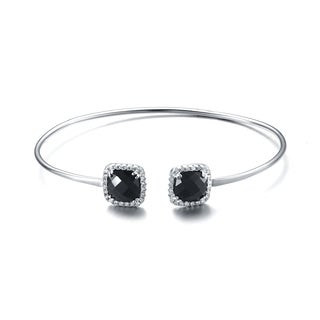 Collette Z Sterling Silver Black Cubic Zirconia Two Stone Bracelet
