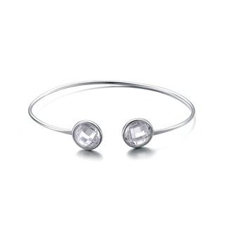 Collette Z Sterling Silver Cubic Zirconia Two Stone Bracelet
