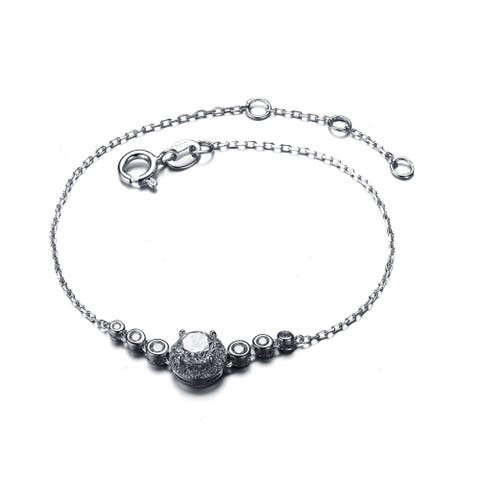Collette Z Sterling Silver Cubic Zirconia Seven Stone Bracelet - White