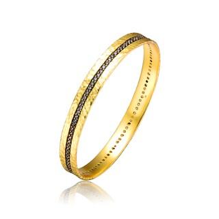 Collette Z Gold Overlay Black Cubic Zirconia Bangle Bracelet - White
