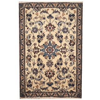 Herat Oriental Persian Hand-knotted Nain Wool & Silk Rug (3' x 4'4)