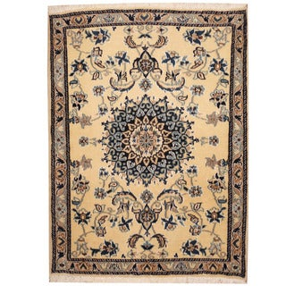 Herat Oriental Persian Hand-knotted Nain Wool & Silk Rug (3'1 x 4'1)