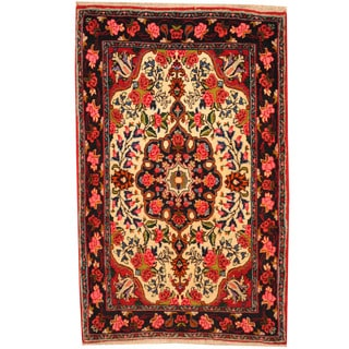 Herat Oriental Persian Hand-knotted Qum Wool Rug (2'3 x 3'7)