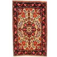 Herat Oriental Persian Hand-knotted Qum Wool Rug (2'3 x 3'7)
